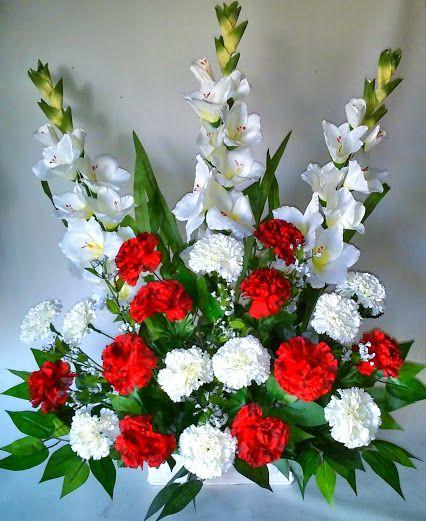 Como hacer un centro de flores artificiales con claveles y - Como hacer un ramo de flores artificiales ...