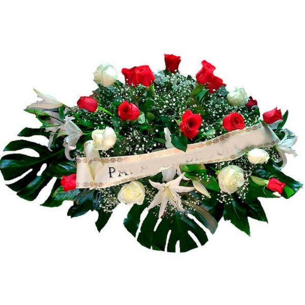 Centro Flores Difuntos Rojo Y Blanco Envio A Tanatorios