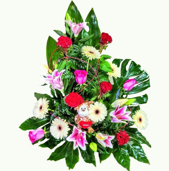 Centro flores con peluche para nacimiento env o a hospital - Hacer un centro de flores ...