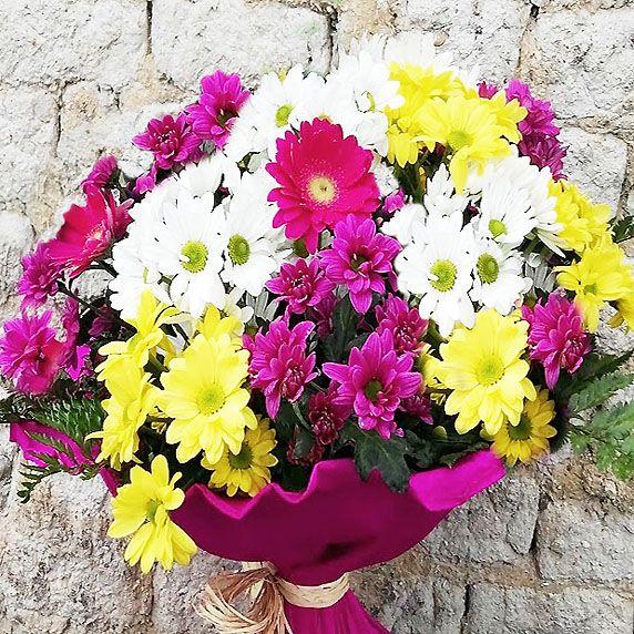 Ramo Flores Con Margaritas Colores Para Regalar A Domicilio